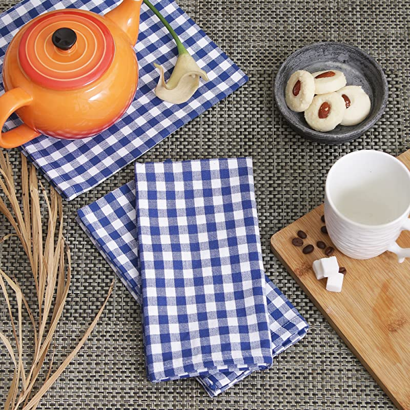 Cotton Dinner Napkins Blue White Check Set Of 12 20 X 20 Inches Over Sized Embroidery And Print Lint Free Quick Dry Hemmed With Mitered Corners