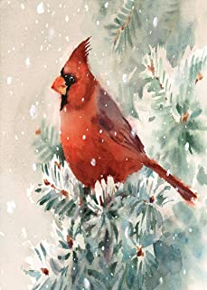 Winter Cardinal Bird Garden Flag House Banner 12 x 18 inch, Hand Painted Tree Small Mini Decorative Double Sided Welcome Yard Flags for Holiday Wedding Party Home Outdoor Outside Decor