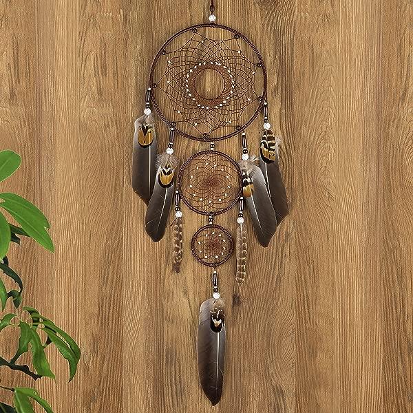 Ricdecor Dream Catcher Handmade Traditional White Feather Dream Catcher Wall Hanging Car Hanging Decoration Ornament Brown 3Circles