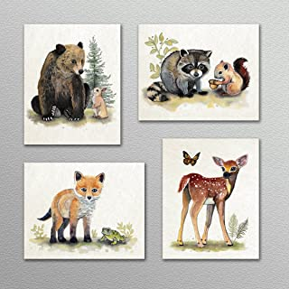 Little Pig Studios Painted Woodland Forest Animal Babies Nursery Art Prints ((4) Set of Four, 8x10)