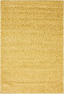 Unique Loom Solo Collection Solid Plush Kids Yellow Area Rug (5' 0 x 7' 7)