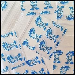 1010 Apple Mini Ziplock 100 Baggies Blue Boy Smoking a J Small Design 100 Bags 1