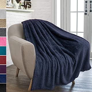 PAVILIA Plush Sherpa Throw Blanket for Couch Sofa | Fluffy Microfiber Fleece Throw | Soft, Fuzzy, Cozy, Lightweight | Solid Navy Blue Blanket | 50 x 60 Inches