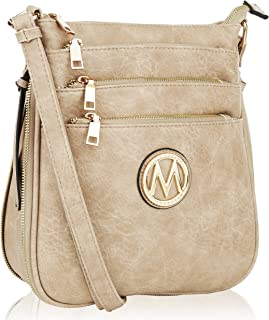 Mia K Collection Crossbody Bags for womens Handbag Adjustable Strap — PU Leather — Crossover Side Messenger Purse