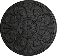 HF by LT Rubber Compass Scroll Garden Stepping Stone, 11-3/4 inches, Black