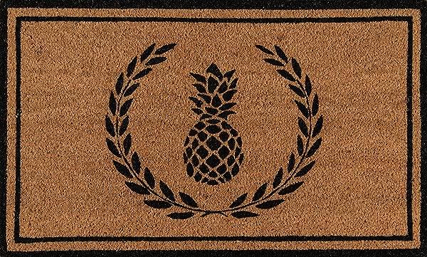 Erin Gates By Momeni Park Pineapple Black Hand Woven Natural Coir Doormat 1 6 X 2 6