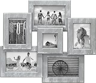 Malden International Designs Berkshire Beveled Wall Collage Picture Frame, 6 Option, 3-4x6 & 2-3x5 & 1-3x3, Gray