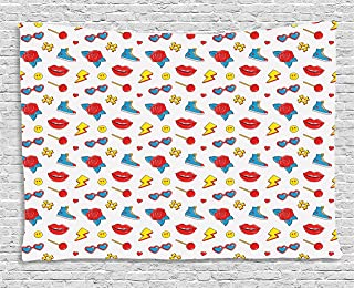 Emoji Tapestry, Hipster Pop Art Theme 90s Fashion Comic Book Figures Lollipop Shoes Lips Roses, Wall Hanging for Bedroom L...
