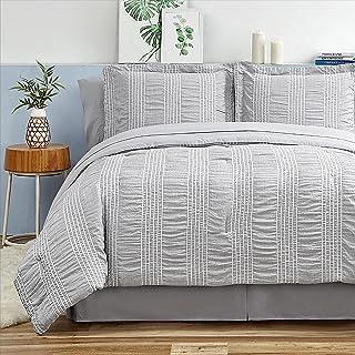 Bedsure Full Queen Comforter Set 8 Piece Bed in A Bag Stripes Seersucker Soft Lightweight Down Alternative Grey Bedding Se...