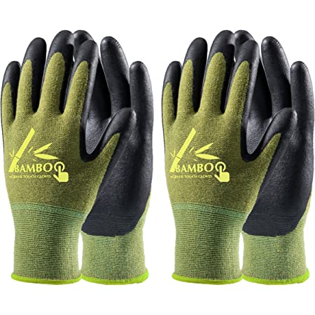 COOLJOB 2 Pairs Gardening Gloves for Women and Men, Bamboo Working Gloves Touchscreen, Grippy Nitrile Rubber Coated Work Gloves, Green, Large Size (2 Pairs L)