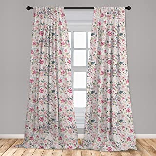 Ambesonne Floral Spring Curtains 2 Panel Set, Watercolor Effect Jumble Flowers Herbs and Leaves Meadow Art, Lightweight Window Treatment Living Room Bedroom Decor, 56
