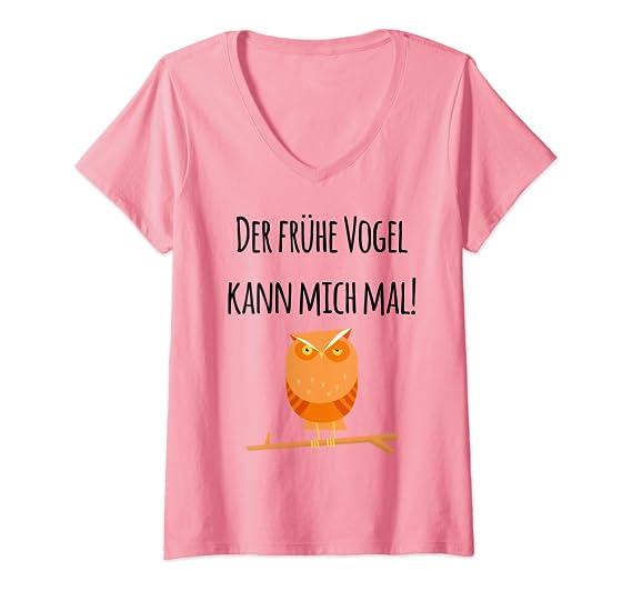 Damen Der frühe Vogel kann mich mal! Verschlafene Eule Bekleidung T-Shirt mit V-Ausschnitt