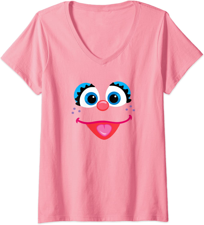 Womens Sesame Street Abby Cadabby Face V-Neck T-Shirt