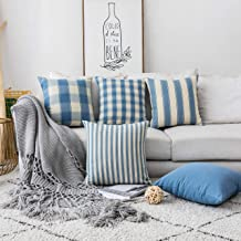 Home Brilliant Throw Pillow Covers Decorative Striped Checker Solid Square Farmhouse Pillow Covers Set for Couch Living Ro...