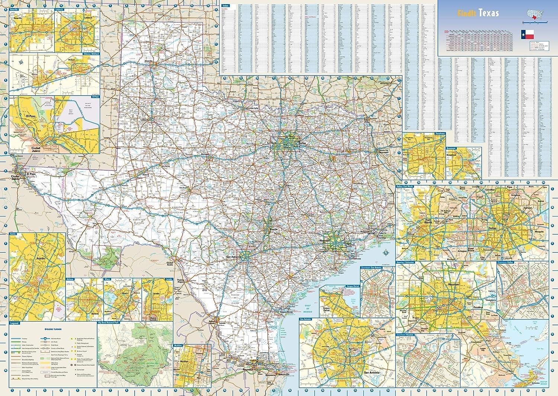 Texas State Washington Mall Wall Map - x Easy-to-use Laminated 34.5