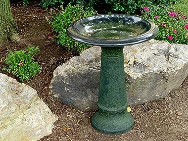 Tierra Garden 4-8181T Gloss Bird Bath Bowl with Gloss Rim, Hunter Green