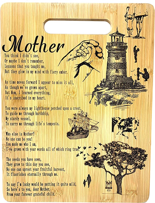 Mothers Gift Mom Bamboo Cutting Board Poem Mom Gift Mothers Day Gift Mom Birthday Christmas Gift Engraved Side For D Cor Hanging Reverse Side For Usage 8 75x11 5 Rectangle