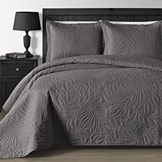 Comfy Bedding Extra Lightweight and Oversized Thermal Pressing Leafage 3-Piece Coverlet Set (King/Cal King, Gray)