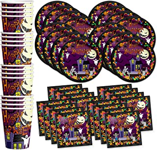 Birthday Galore Happy Halloween Party Celebration Supplies Set Paper Plates Napkins Cups Tableware Kit for 16