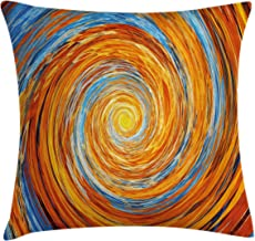 Ambesonne Fractal Throw Pillow Cushion Cover, Hippie Style Vortex Spiral Rotary Colorful Chaotic Unusual Turning Contrast Design, Decorative Square Accent Pillow Case, 18