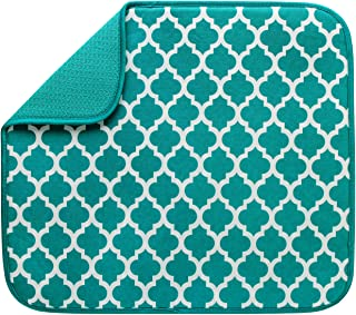 S&T INC. Absorbent, Reversible Microfiber Dish Drying Mat for Kitchen, 16 Inch x 18 Inch, Teal Trellis