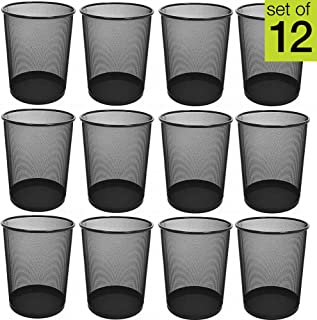 Smart Design Steel Metal Mesh Waste Basket - Easy to Clean Design - Garbage, Paper Clutter, Trash Can Bin - Home & Office (11.75 x 13.75 Inch) [Black] - Set of 12