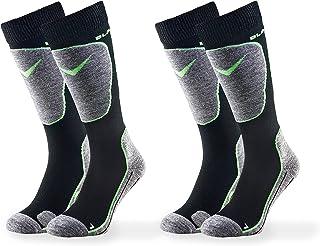 Black Crevice, Calcetines de esquí para adultos, 2 pares, multicolor (negro/verde) 43-46