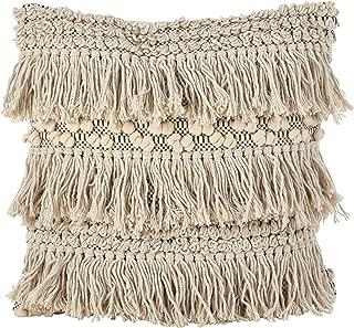 SARO LIFESTYLE Moroccan Wedding Blanket Style Fringe Cotton Down Filled Throw Pillow, 18