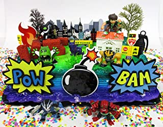 Ben and Friends Birthday Cake Topper Set Featuring Ben & Random Friends Figures and Decorative Themed Accessories