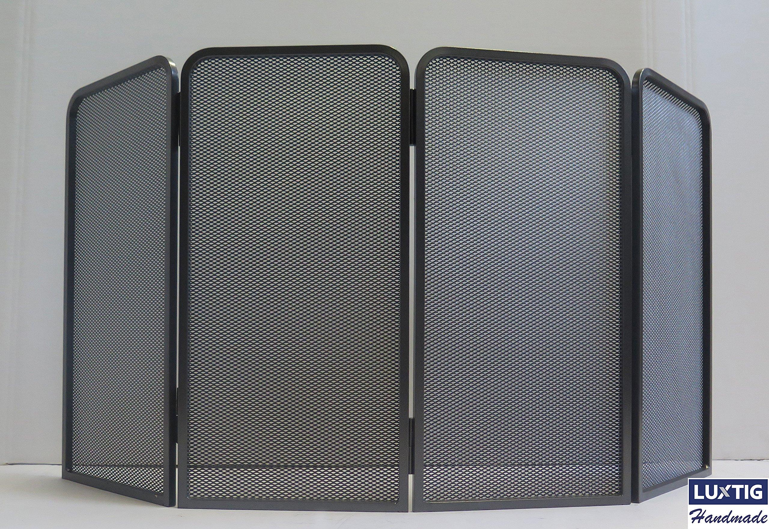 PARASCINTILLE accesorios para chimenea de hierro diseño con 4 puertas plegables 100 x 50 – Resistente Y estable – Negro – Linea accesorios luxtig: Amazon.es: Bricolaje y herramientas