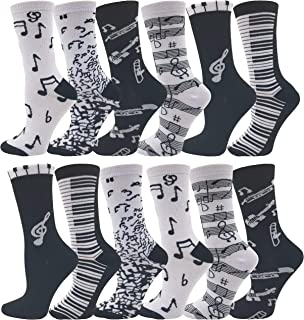 Womens Novelty Socks, 12 Pairs, Soft & Comfortable, Cute Colorful Patterned Sock Bulk Pack Gift