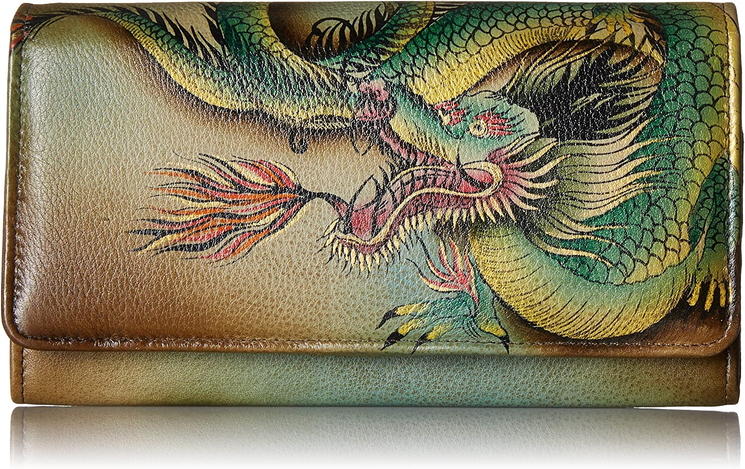 Anuschka Hand Painted Rfid Blocking Accordion Flap Wallet Hidden Dragon Wallet, HdrHidden Dragon, One Size