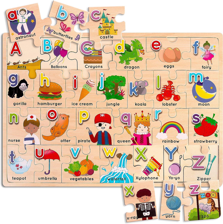 ArtzoFun Wooden Alphabet Puzzle for Big Kids- Luxury Direct stock discount Puzzles ABC 17x12