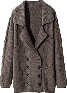 Women's Cashmere Loose Casual Long Sleeve Open Front Oversized Cardigan Sweater Wool Coat Sherpa Jacket with Pockets