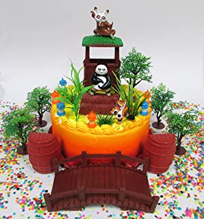 Kung Fu Panda Birthday Cake Topper Set Featuring Kung Fu Panda Figures and Decorative Themed Accessories