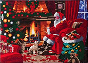 CRYSTAL ART Kit Santa by The Fire D.I.Y. Diamond Painting Wall Art, Christmas Scene on Canvas, Pre-Mounted on Wood Frame, XL Size: 65 x 90cm (Approx. 25 x 35 in.)