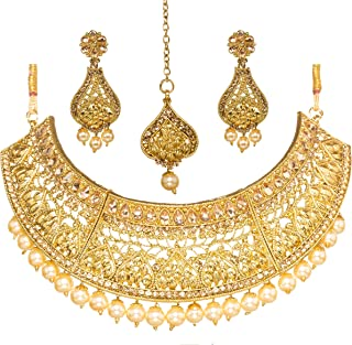 Bindhani Wedding Traditional Bridesmaid Ethnic Bridal Bollywood Gold Plated Kundan Necklace Earrings Tikka Tika Indian Choker Jewelry Set for Women