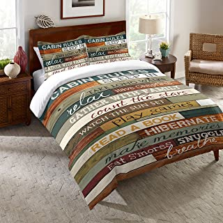 Laural Home Rules of The Cabin Comforter Queen