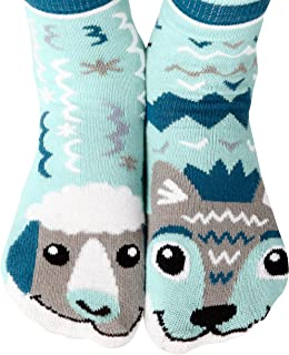 Pals Socks, Calcetines unisex de diseño moderno para niños con diseño de lobo y oveja, con bandas de agarre.