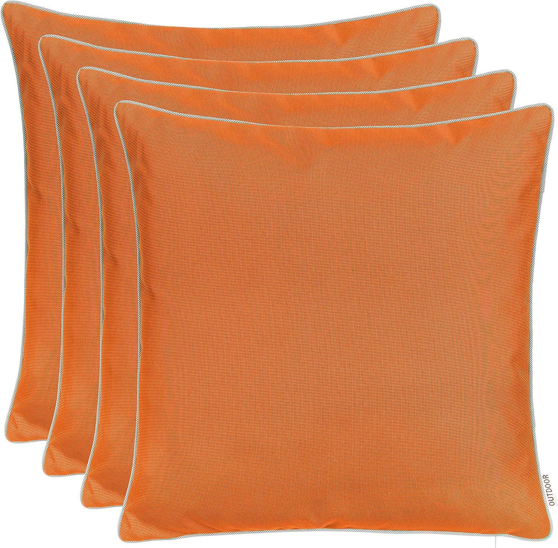 Cojines decorativos para jardín al aire libre con ribete, teñidos con hilo, resistentes a la suciedad y al agua, con cremallera, tamaño: 45 x 45 cm (pack ahorro de 4 unidades), color naranja y marrón