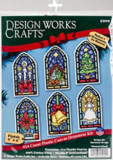 Design Works Count Plastic Canvas Kit ~ STAINED GLASS Ornaments #5909