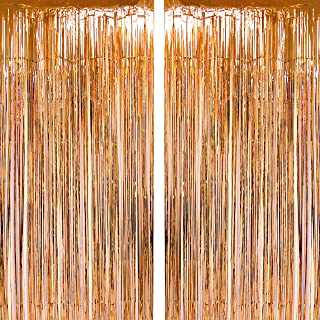 Champagne Gold Foil Fringe Curtains Tinsel Foil Fringe Curtains Wedding Bridal Shower Birthday Baby Shower Party Decor New Years Valentines Day Photo Booth Props Backdrops Decorations