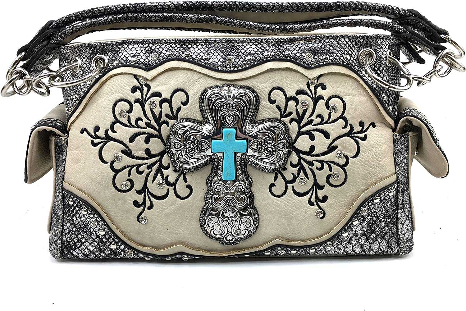 Justin West Floral Embroidery Rhinestone Turquoise Cross Concealed Handbag Purse