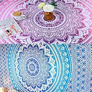Folkulture Set of 2 Bohemian Mandala Tapestry Wall Hanging, Hippie Indian Mandala Beach Blanket or Table Cover or Tablecloth, Boho Tapestry or Yoga Mat for Meditation - 55x88 Inches, Blue and Pink