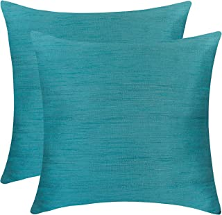 The White Petals Light Teal Euro Sham (Set of 2 Covers, Faux Raw Silk, Light Teal, 26x26 inches)