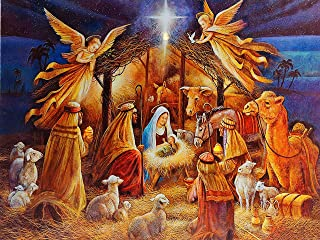 DP Christmas Decoration Light Up LED 30 x 40cm Canvas Wall Picture - Nativity