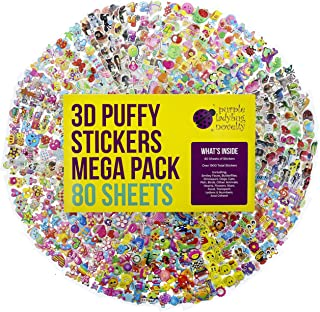 80 Different Sticker Sheets Kids & Toddlers Puffy Stickers Mega Variety Pack - Over 1900 Cool and Cute 3D Puffy Stickers for Kids - Including Animals , Smiley Faces , Cars , Stars, Alphabet & More!