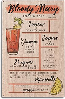 Lantern Press Bloody Mary - Cocktail Recipe (10x15 Wood Wall Sign, Wall Decor Ready to Hang)