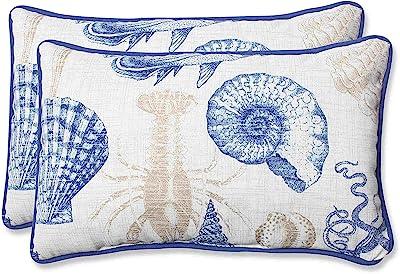 """Pillow Perfect Outdoor Sea Life Marine Rectangular Throw Pillow, Set of 2,Blue,11.5"""" x 18.5"""""""