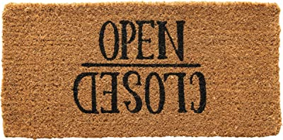 Creative Co-Op Open/Closed Natural Coir Doormat